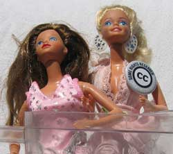 Barbies in a Blender with a CC button