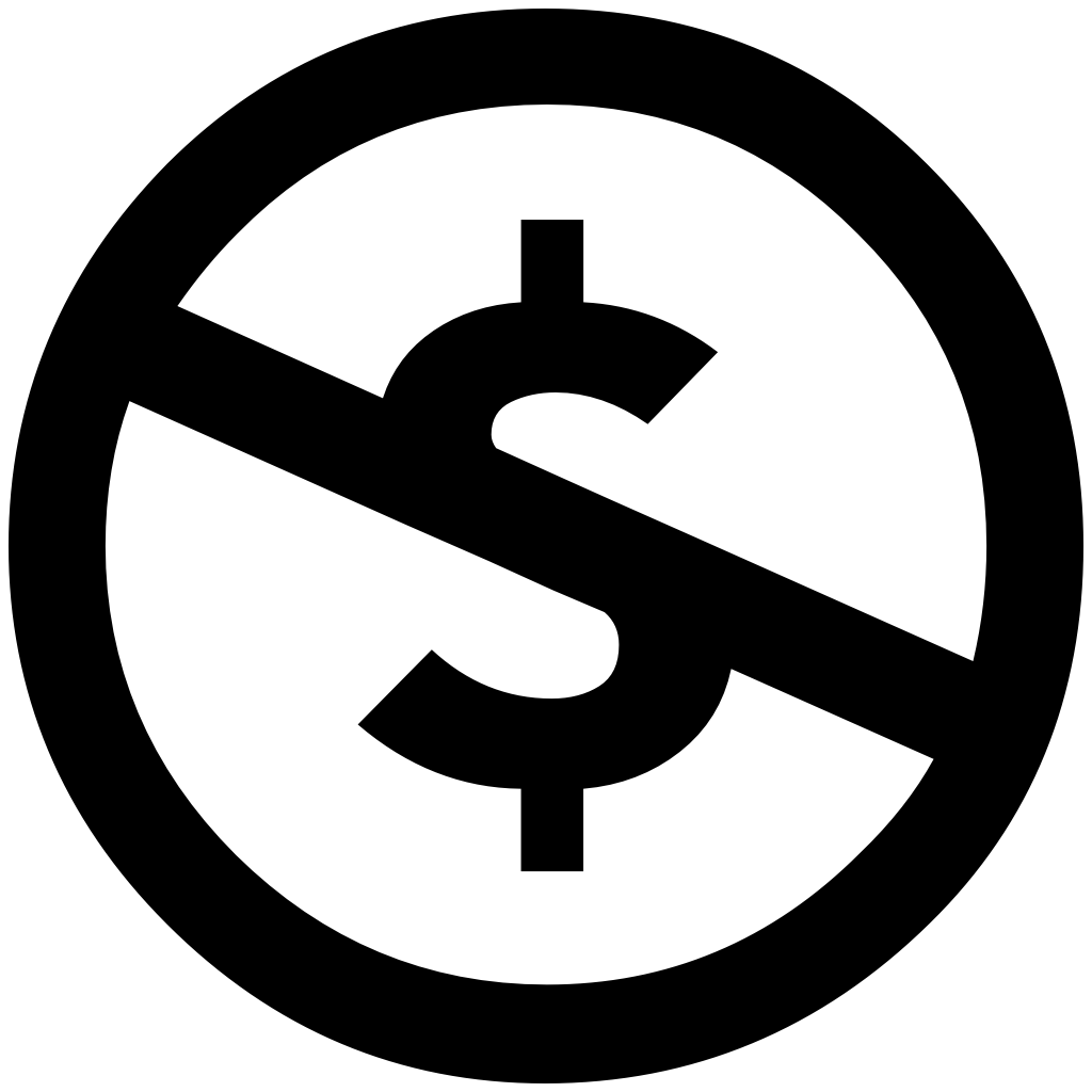 dollar symbol with slash through it